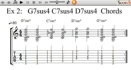 Freemusiclessons4u G7sus4 C7sus4 D7sus4 Chord Exercises Left