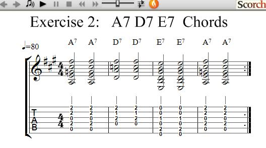 FreeMusicLessons4u.com - A7-D7-E7 Chord Exercises - Left Handed