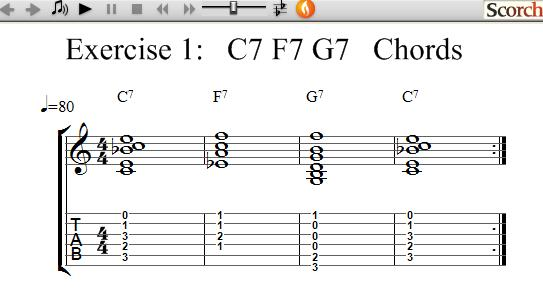 Freemusiclessons4u C7 F7 G7 Chord Exercises