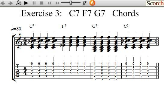 Freemusiclessons4u C7 F7 G7 Chord Exercises