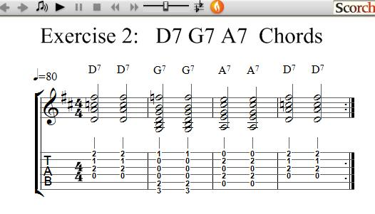 Freemusiclessons4u D7 G7 A7 Chord Exercises