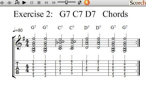 Freemusiclessons4u G7 C7 D7 Chord Exercises