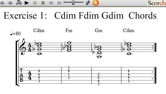 Freemusiclessons4u C F G Diminished Chord Exercise