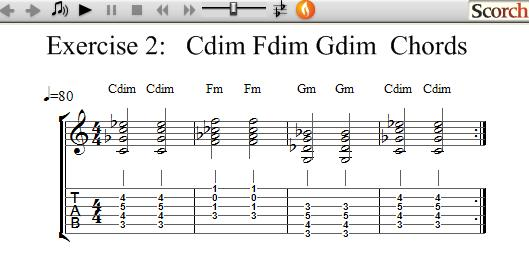Freemusiclessons4u C F G Diminished Chord Exercise Left Handed