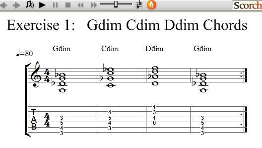 FreeMusicLessons4u.com - G C D Diminished Chord Exercise - Left Handed