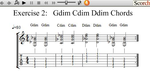 Freemusiclessons4u G C D Diminished Chord Exercise