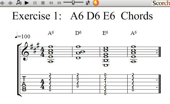 Freemusiclessons4u A6 D6 E6 Chord Exercises