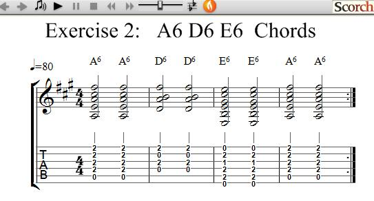 Freemusiclessons4u A6 D6 E6 Chord Exercise Left Handed