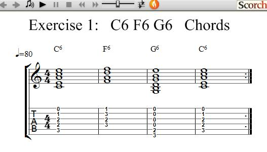 FreeMusicLessons4u.com - C6-F6-G6 Chord Exercise - Left Handed