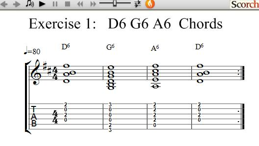 FreeMusicLessons4u.com - D6-G6-A6 Chord Exercise