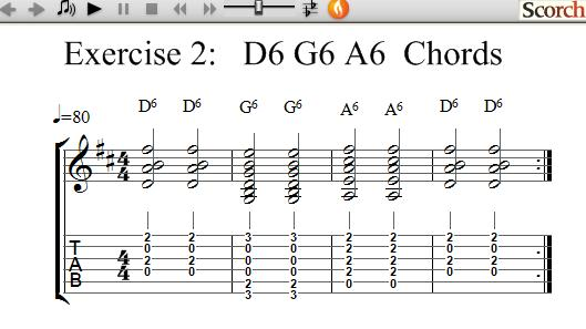 Freemusiclessons4u D6 G6 A6 Chord Exercise