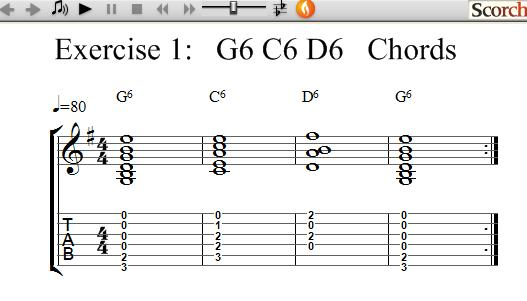 FreeMusicLessons4u.com - G6-C6-D6 Chord Exercise