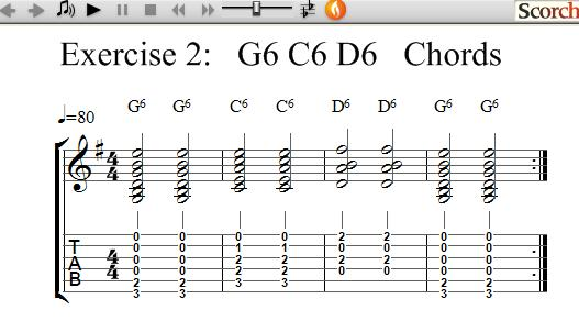 Freemusiclessons4u G6 C6 D6 Chord Exercise