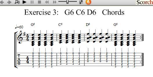Freemusiclessons4u G6 C6 D6 Chord Exercise Left Handed
