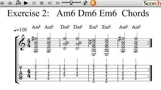 Freemusiclessons4u Am6 Dm6 Em6 Chord Exercise Left Handed