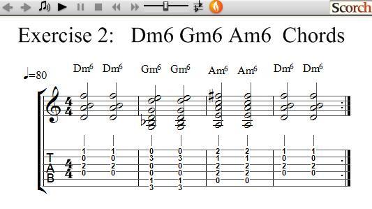 FreeMusicLessons4u.com - Dm6-Gm6-Am6 Chord Exercise - Left Handed