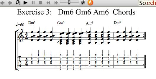 Freemusiclessons4u Dm6 Gm6 Am6 Chord Exercise Left Handed