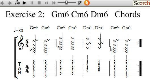 Freemusiclessons4u Gm6 Cm6 Dm6 Chord Exercise Left Handed