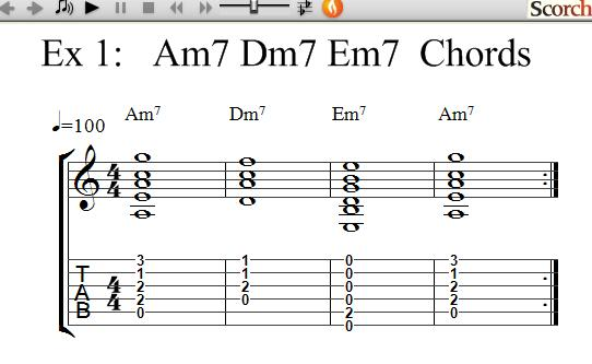 FreeMusicLessons4u.com - Am7-Dm7-Em7 Chord Exercises - Left Handed