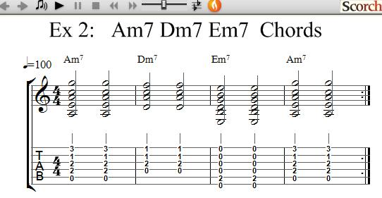 Freemusiclessons4u Am7 Dm7 Em7 Chord Exercises