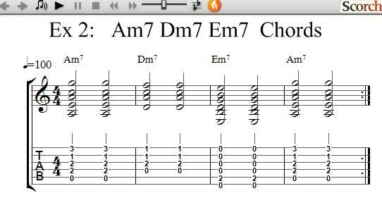Guitar guitar chords dm7 : FreeMusicLessons4u.com - Am7-Dm7-Em7 Chord Exercises - Left Handed