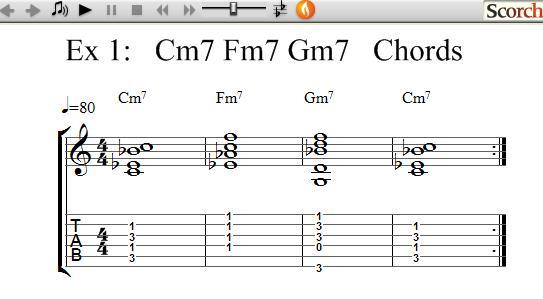 FreeMusicLessons4u.com - Cm7-Fm7-Gm7 Chord Exercises