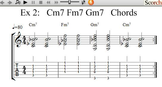 Freemusiclessons4u Cm7 Fm7 Gm7 Chord Exercises Left Handed