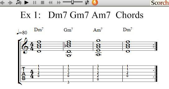 Freemusiclessons4u Dm7 Gm7 Am7 Chord Exercises