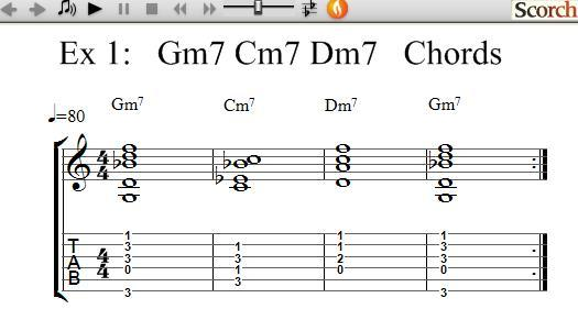 FreeMusicLessons4u.com - Gm7-Cm7-Dm7 Chord Exercises - Left Handed