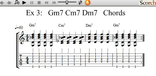 Freemusiclessons4u Gm7 Cm7 Dm7 Chord Exercises Left Handed