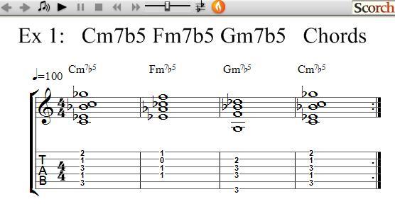 FreeMusicLessons4u.com - Cm7b5-Fm7b5-Gm7b5 Chord Exercises - Left Handed