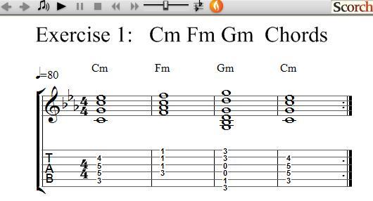 FreeMusicLessons4u.com - Cm Fm Am Chord Exercise - Left Handed