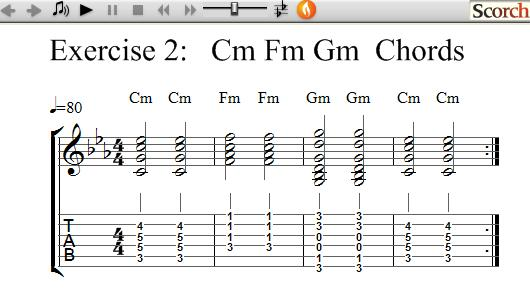 Freemusiclessons4u Cm Fm Am Chord Exercise Left Handed