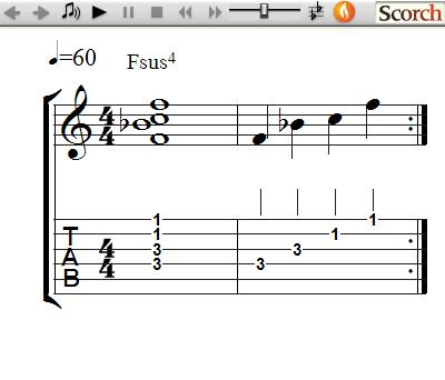 FreeMusicLessons4u.com - Suspended 4th Chords - Left Handed
