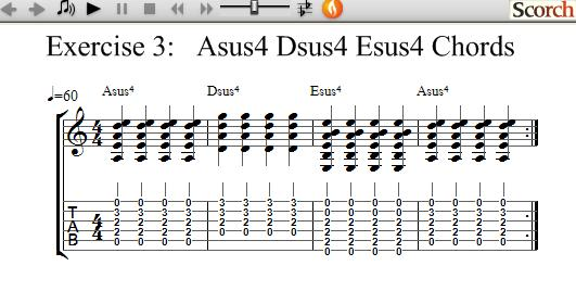 FreeMusicLessons4u.com - Asus4 Dsus4 Esus4 Exercises - Left Handed