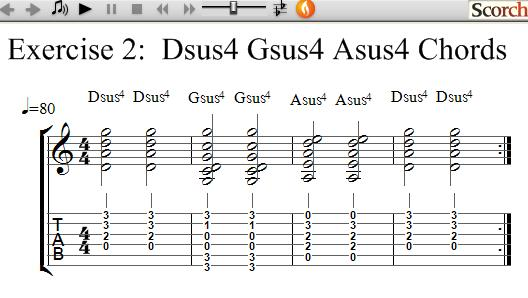 FreeMusicLessons4u.com - Dsus4 Gsus4 Asus4 Chord Exercise - Left Handed