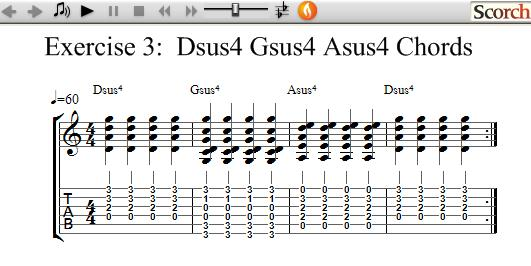 Freemusiclessons4u Dsus4 Gsus4 Asus4 Chord Exercise Left Handed