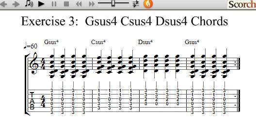 FreeMusicLessons4u.com - Gsus4 Csus4 Dsus4 Chord Exercise - Left Handed