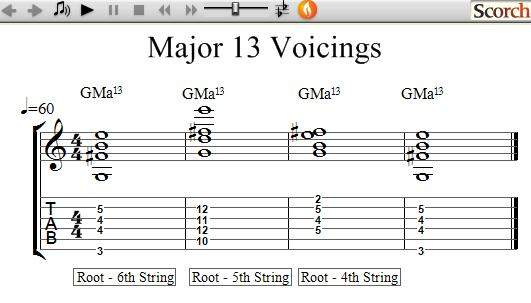 FreeMusicLessons4u.com - 13th Chord Voicings - Left Handed